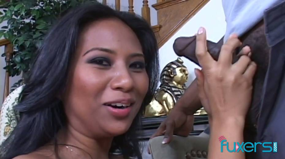 Asian hooker gives a blowjob to hot blooded BBC and gets her twat stretched - 7. pic