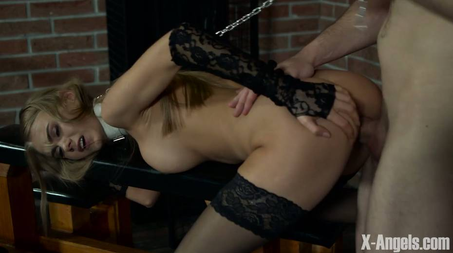 Slim babe with juicy tits Nancy is chained and punished in the basement - 12. pic