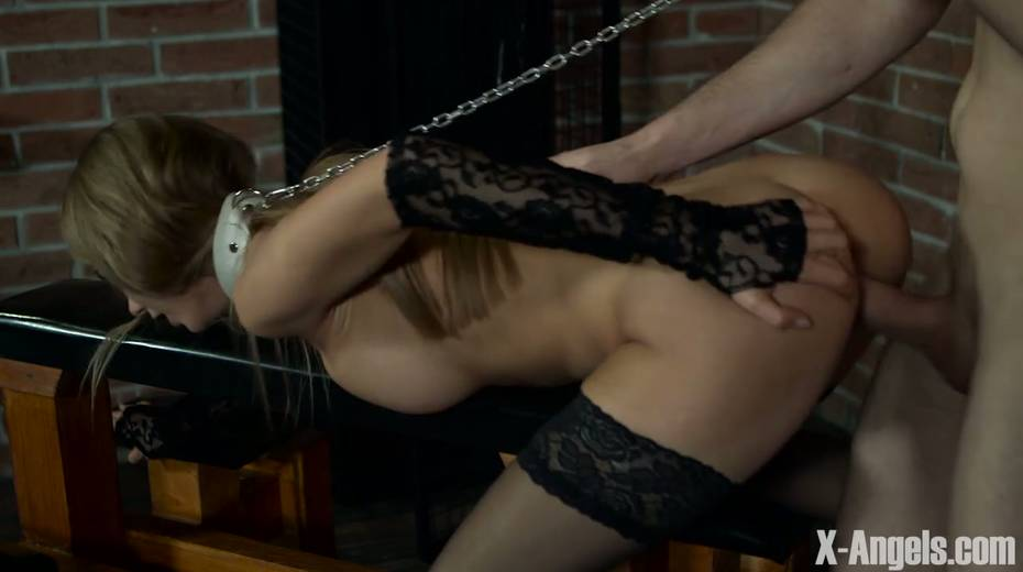 Slim babe with juicy tits Nancy is chained and punished in the basement - 14. pic