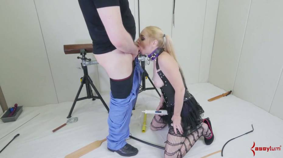 Newbie in stockings and sexy outfit gets her face and anus banged by two perverts - 6. pic