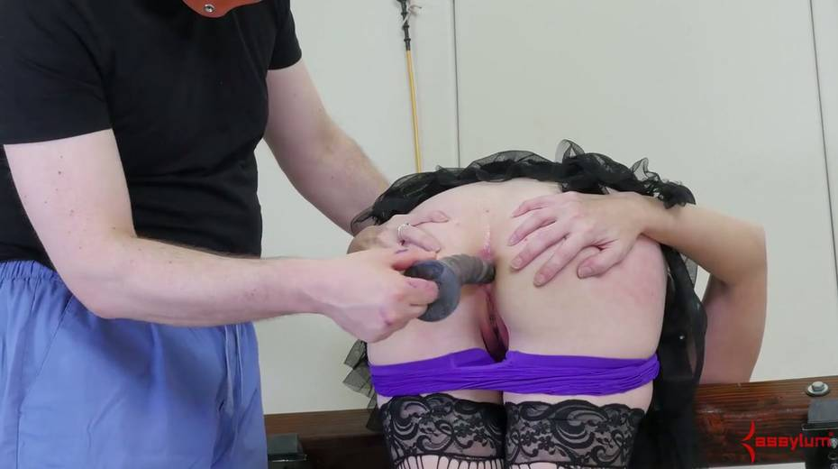 Newbie in stockings and sexy outfit gets her face and anus banged by two perverts - 8. pic
