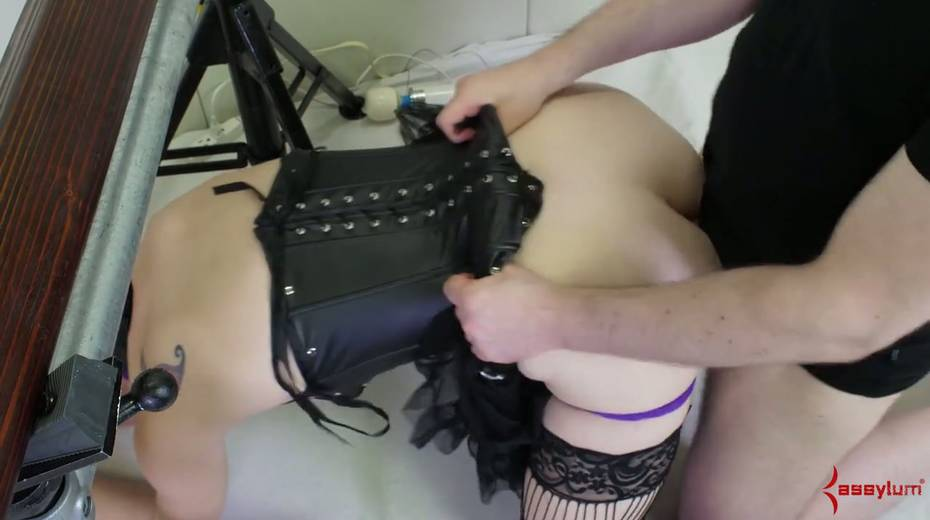 Newbie in stockings and sexy outfit gets her face and anus banged by two perverts - 17. pic
