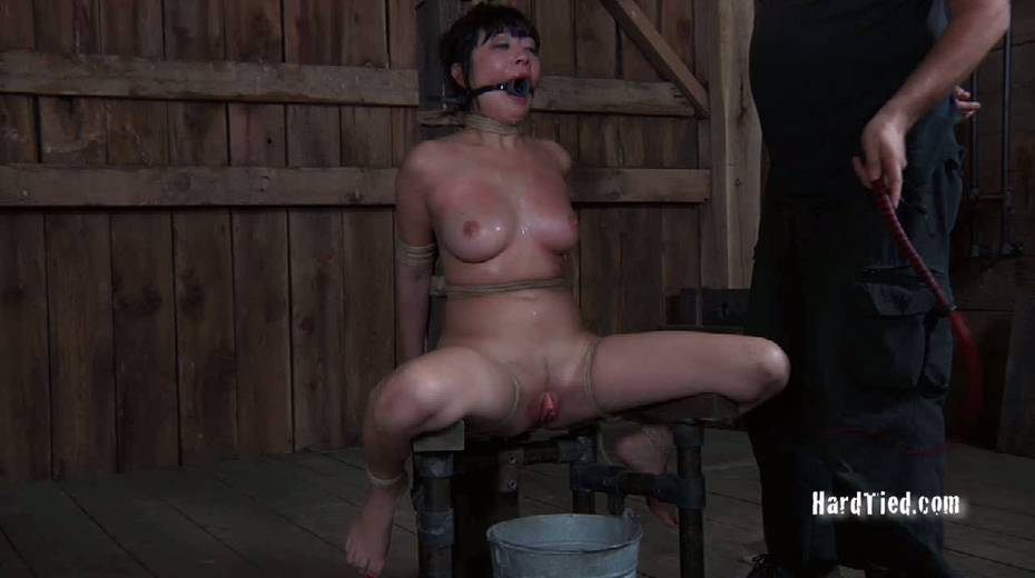 Asian gal with ball gag in her mouth is tied up and fucked with vibrator - 9. pic