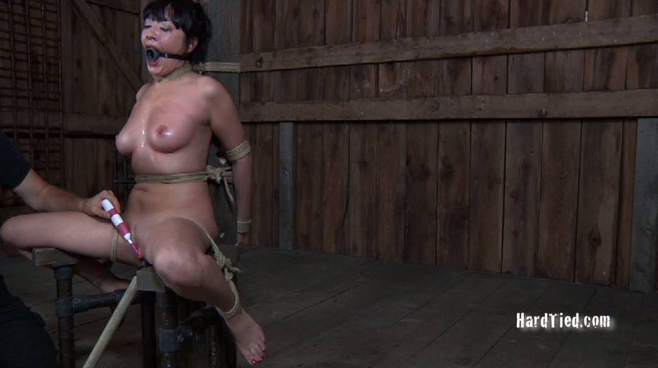 Asian gal with ball gag in her mouth is tied up and fucked with vibrator - 15. pic