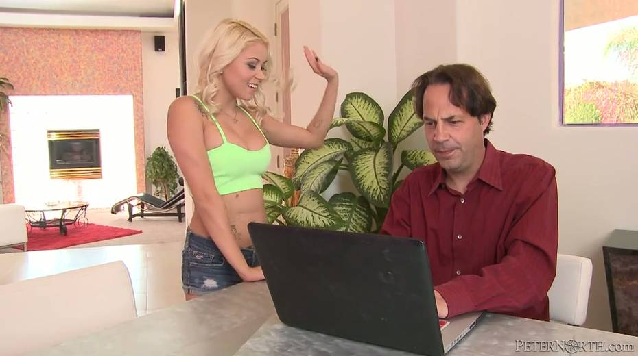 Blond housewife Marsha May seduces her own husband and rides his dick like crazy whore - 1. pic