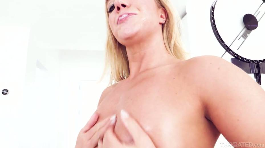 Blond slut Candice Dare swallows huge dick and gets messy facial - 24. pic