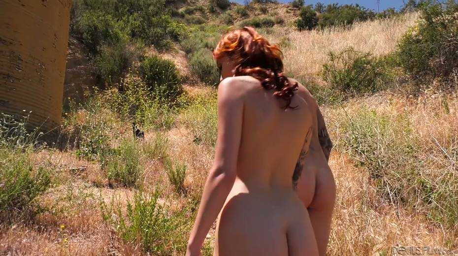 Slutty red head Emily Blacc is fucked hard by two bisexual guys - 3. pic
