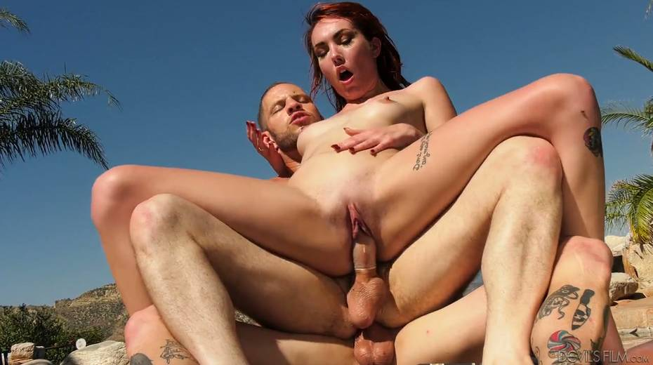 Slutty red head Emily Blacc is fucked hard by two bisexual guys - 20. pic