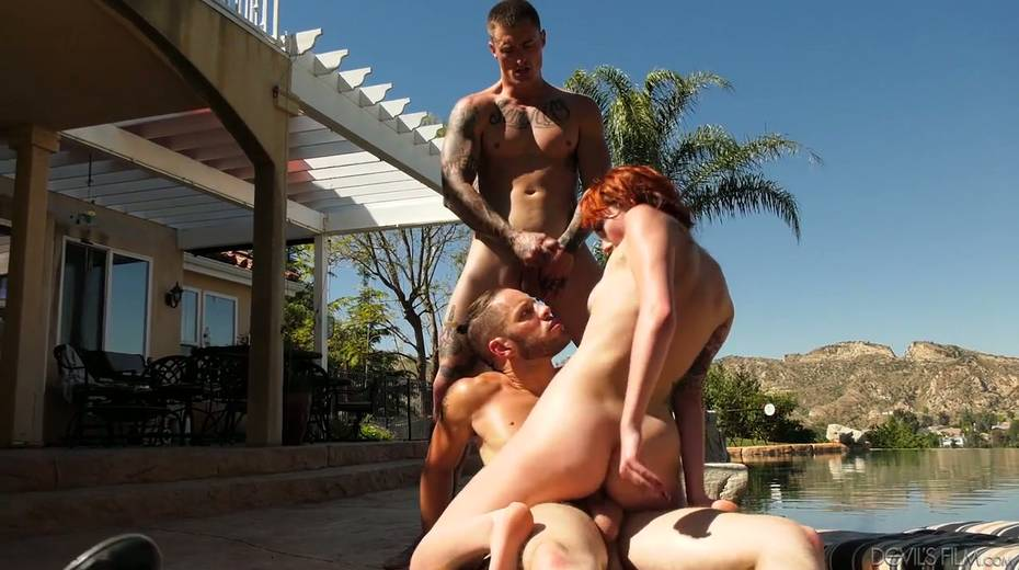 Slutty red head Emily Blacc is fucked hard by two bisexual guys - 27. pic