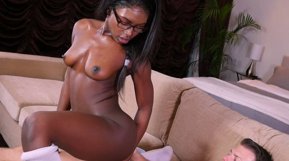 Ebony chick Noemie Bilas is fond of photographer's white dick - 22. pic