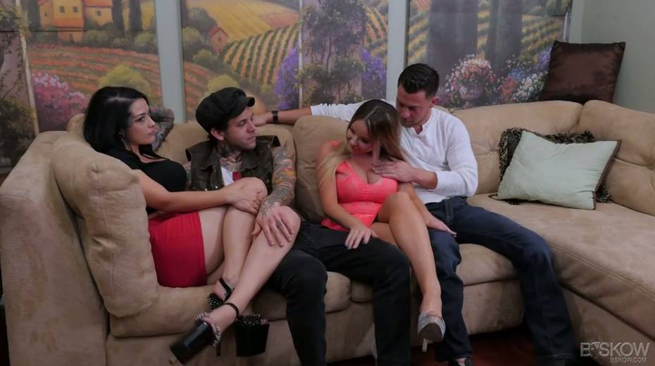 Sizzling chick Katrina Jade is taking part in a crazy group sex scene - 1. pic
