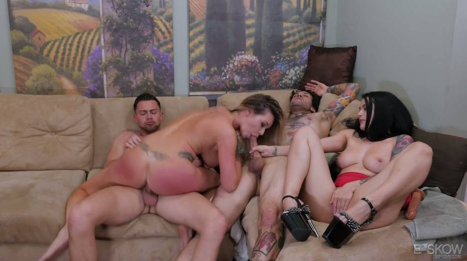 Sizzling chick Katrina Jade is taking part in a crazy group sex scene - 10. pic
