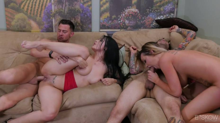 Sizzling chick Katrina Jade is taking part in a crazy group sex scene - 18. pic