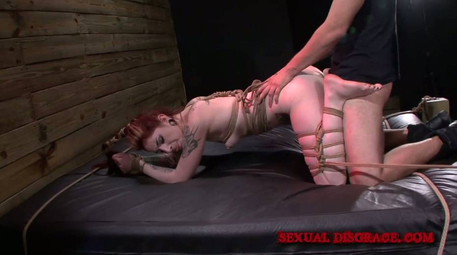 Kinky dude ties up and fucks ginger slut Sheena Rose in the dark basement - 5. pic