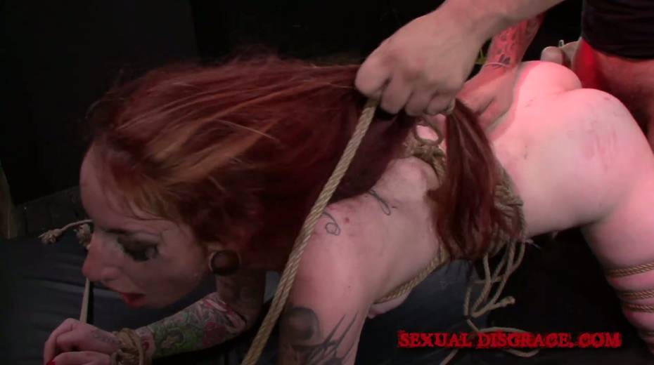 Kinky dude ties up and fucks ginger slut Sheena Rose in the dark basement - 18. pic