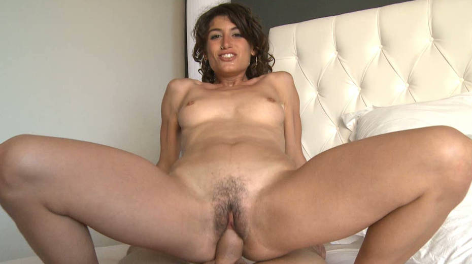 Aroused brunette slut Julia Roca rides her fellow's dong - 1. pic