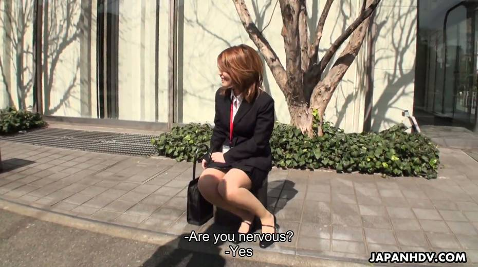Naughty Asian chick Yuria Takeda gives a blowjob in the interview - 2. pic