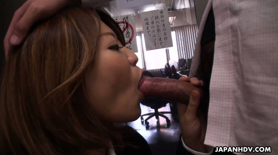 Naughty Asian chick Yuria Takeda gives a blowjob in the interview - 11. pic