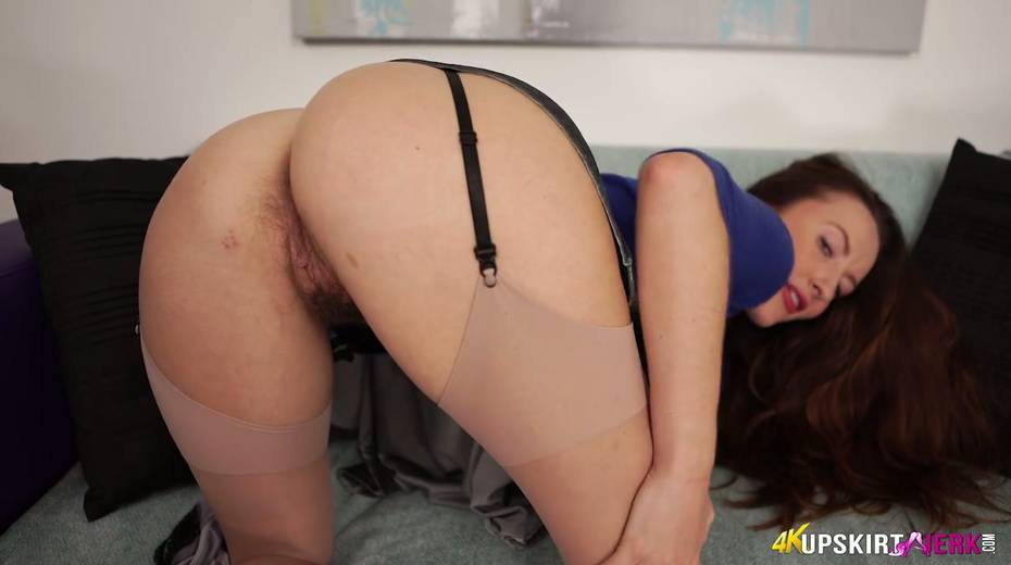 British milf in stockings Sophia Smith teases with her nasty pussy upskirt - 23. pic