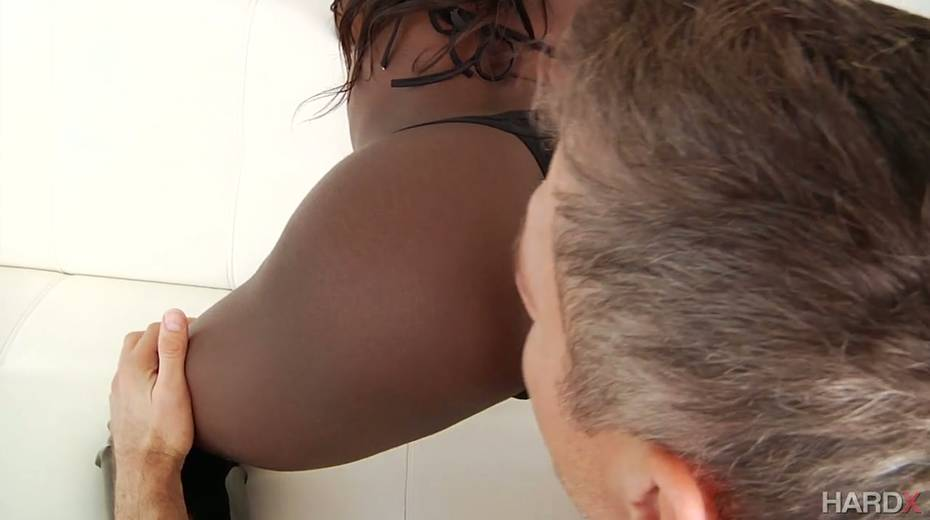 Salacious ebony harlot Noemie Bilas takes a huge white dong in her black anal hole - 4. pic