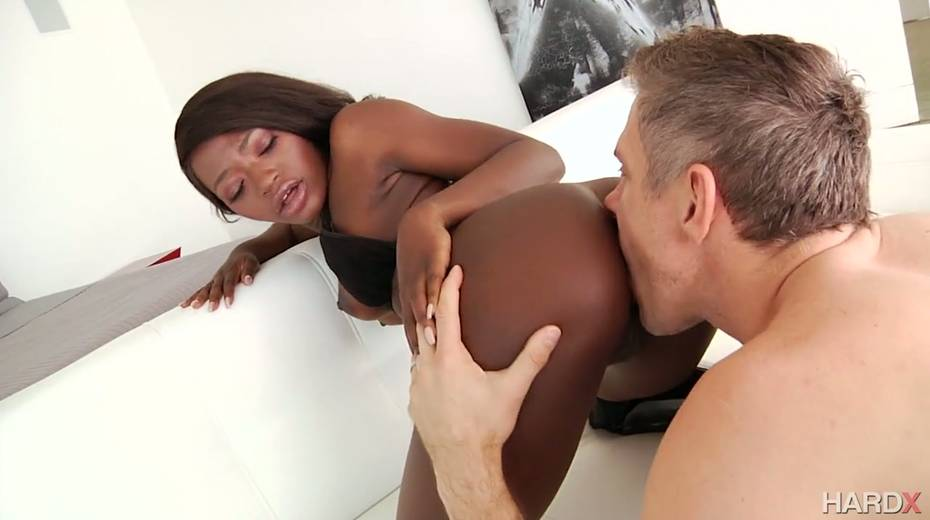 Salacious ebony harlot Noemie Bilas takes a huge white dong in her black anal hole - 5. pic