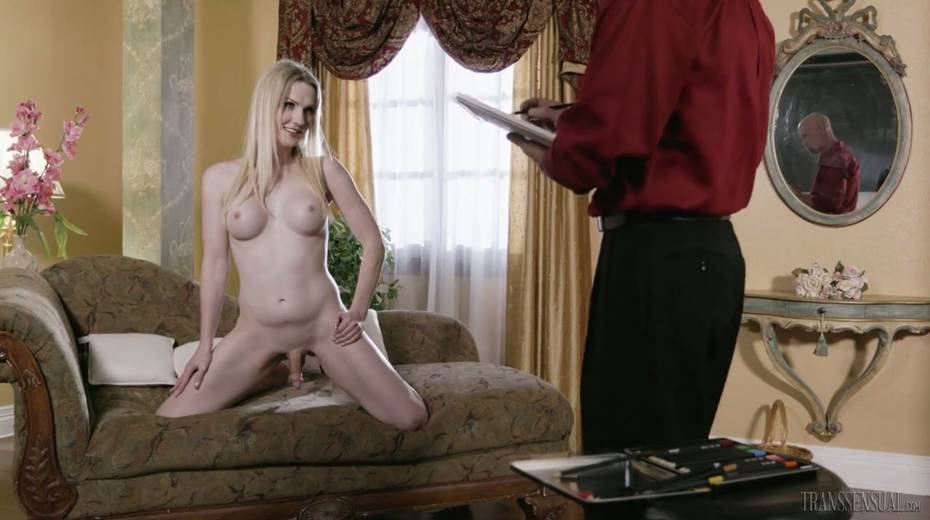 Sexy tranny with juicy boobies Kayleigh Coxx is face fucked before anal sex - 3. pic