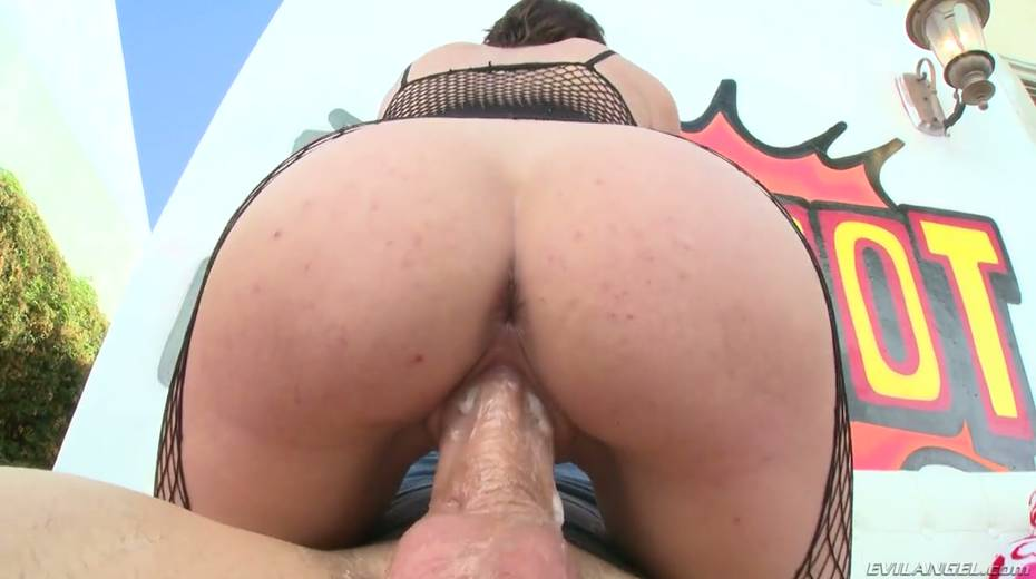 Slutty chick in crotchless body fishnets Cece Capella gets her pussy fucked outdoor - 14. pic