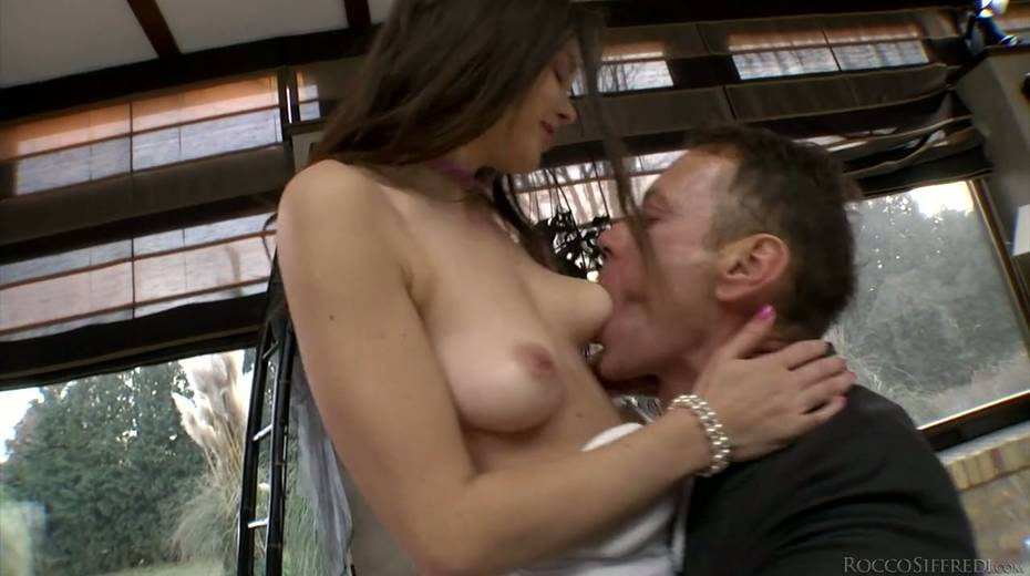 Rocco Siffredi and Nataly Gold fucks one naughty chick in ripped fishnets - 3. pic