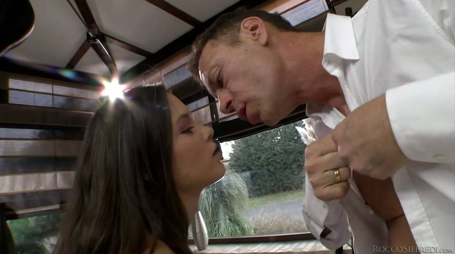 Rocco Siffredi and Nataly Gold fucks one naughty chick in ripped fishnets - 4. pic
