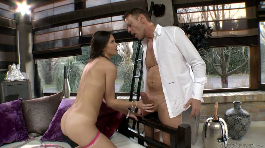 Rocco Siffredi and Nataly Gold fucks one naughty chick in ripped fishnets - 6. pic