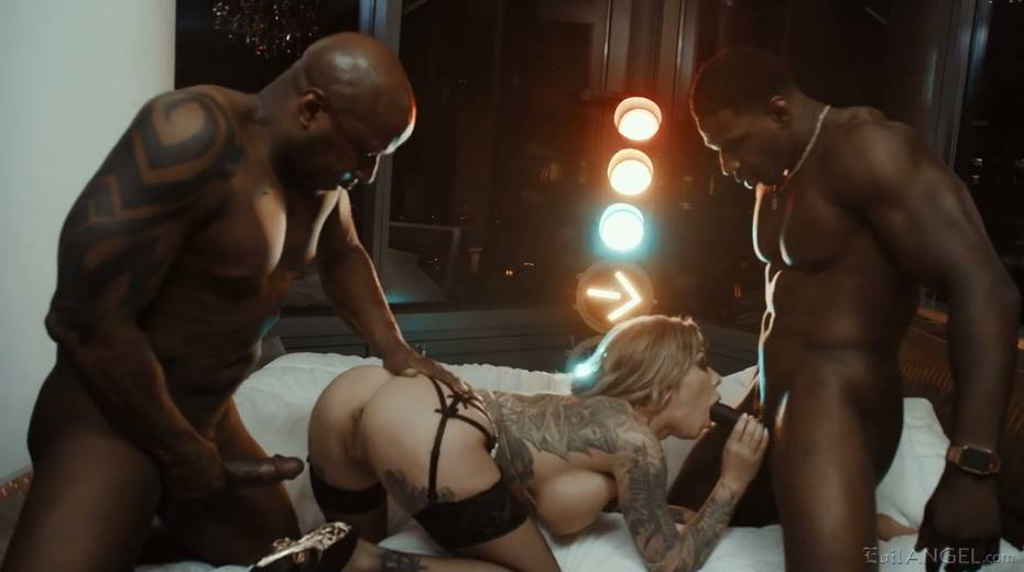 Two big hard dongs attack all holes of tattooed white hooker Karma Rx - 6. pic