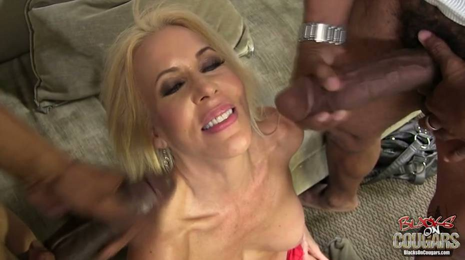 White whore Erica Lauren is taking two big black hoses in threesome scene - 14. pic