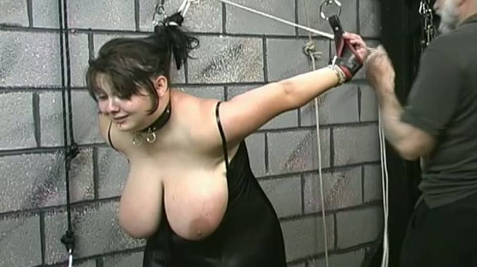 Huge boobed BBW slut getting her balloons tied up in bondage porn video - 2. pic
