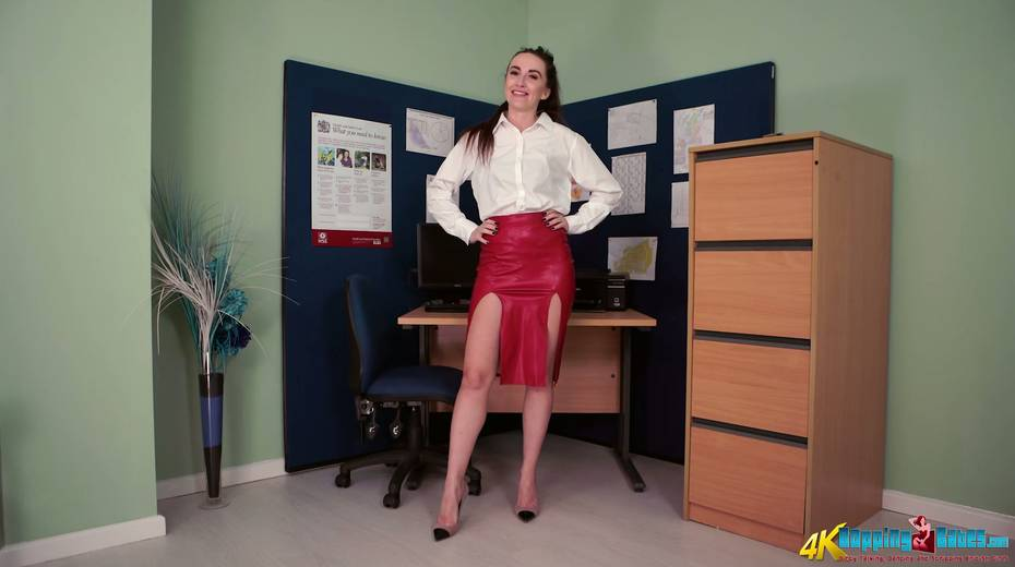 Slutty secretary Sophia Smith gets naked and dances in the office - 1. pic