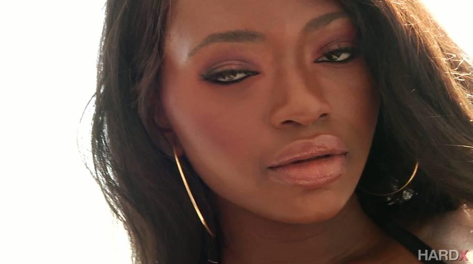 Leggy ebony model Noemie Bilas is fond of hard and big black white phallus - 1. pic