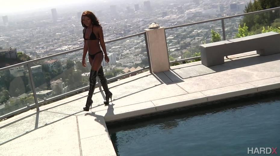 Leggy ebony model Noemie Bilas is fond of hard and big black white phallus - 2. pic
