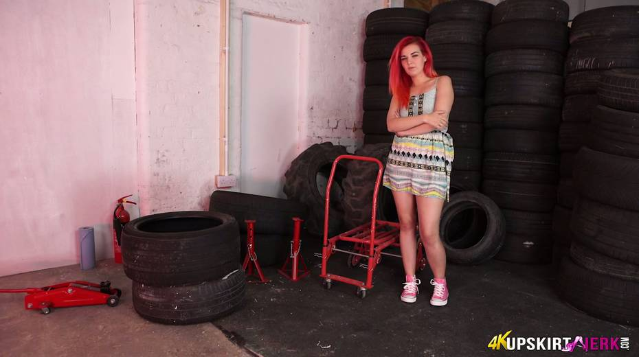 Yummy plump pussy of slutty red head from the tyre store - 1. pic
