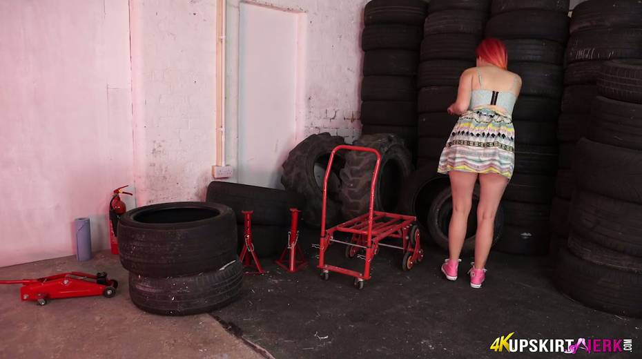 Yummy plump pussy of slutty red head from the tyre store - 2. pic