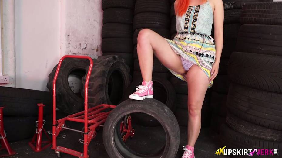 Yummy plump pussy of slutty red head from the tyre store - 10. pic