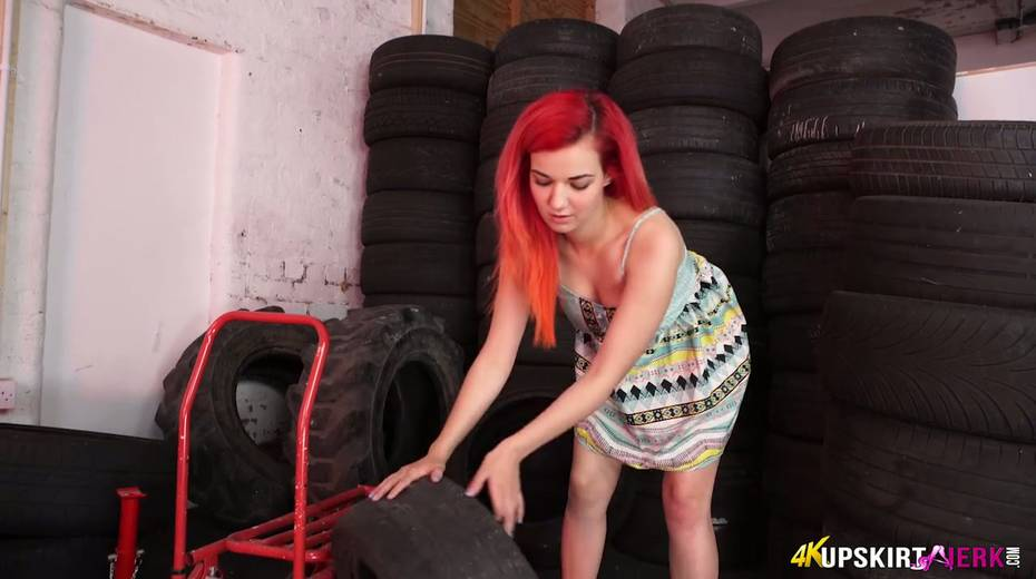 Yummy plump pussy of slutty red head from the tyre store - 11. pic