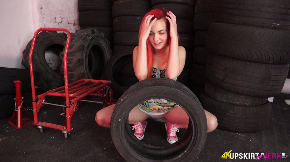 Yummy plump pussy of slutty red head from the tyre store - 13. pic