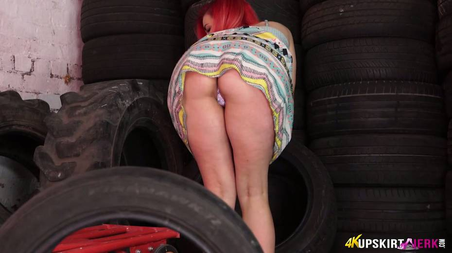 Yummy plump pussy of slutty red head from the tyre store - 17. pic