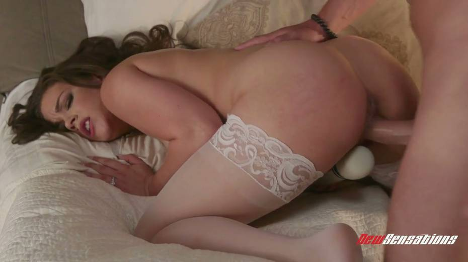 Czech babe in lace white stockings masturbates before a steamy sex with her spouse - 14. pic