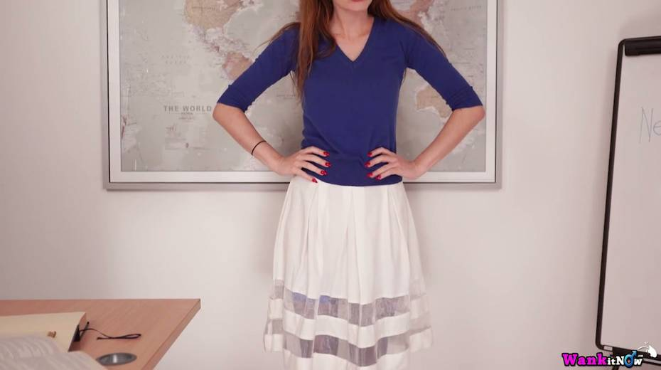 Red haired teacher Sophia Smith gets naked and shows off her hungry hole - 5. pic