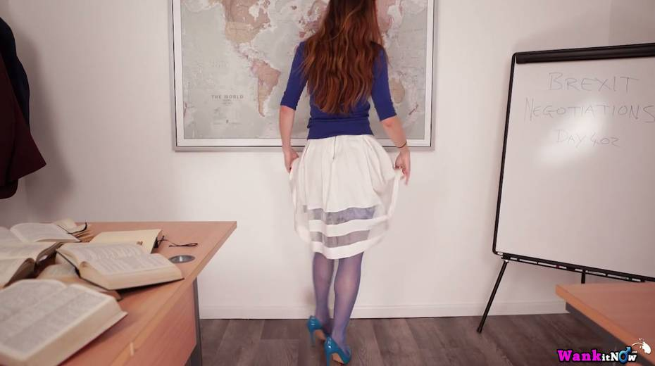 Red haired teacher Sophia Smith gets naked and shows off her hungry hole - 7. pic