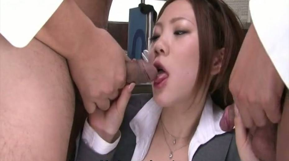 Sultry Japanese girl sucking coworkers dicks in gangbang - 2. pic