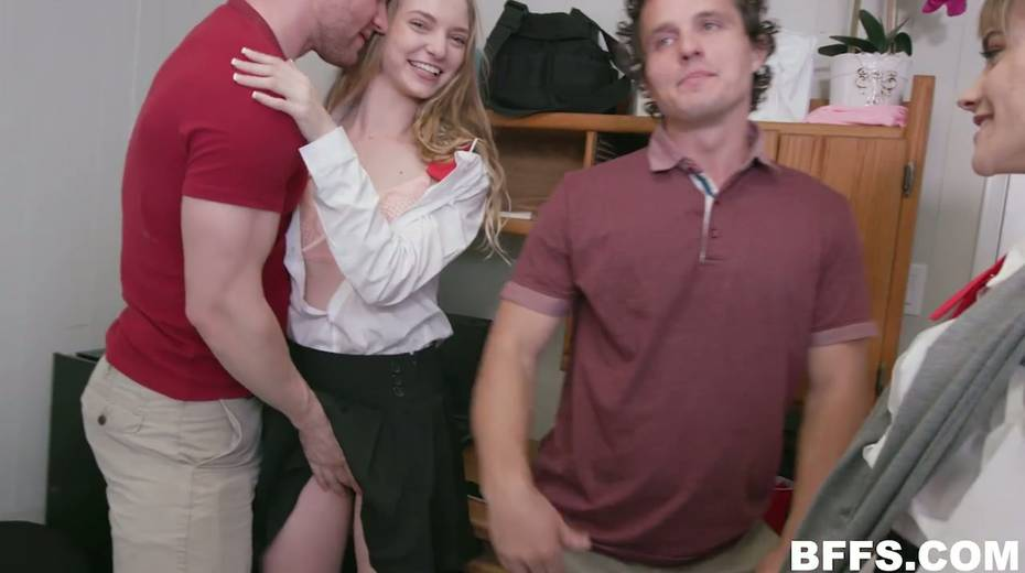 Sizzling college chick Nova Skies invites friends for hardcore group sex - 4. pic