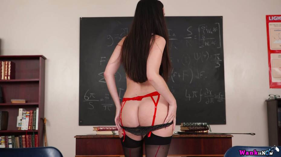 Killing hot teacher Sophia Smith gets naked and masturbates on the table - 16. pic
