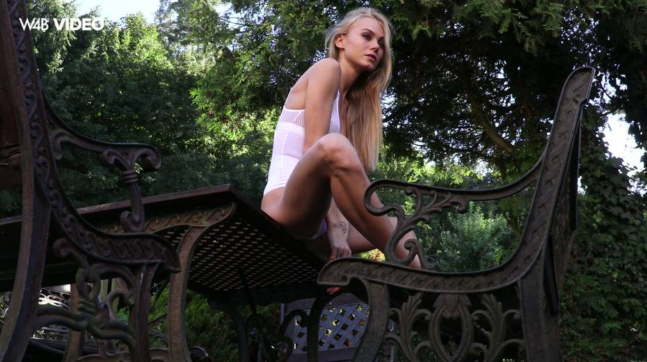 Eye catching babe Nancy A is masturbating her pussy in the garden - 3. pic
