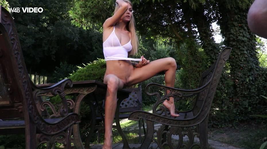 Eye catching babe Nancy A is masturbating her pussy in the garden - 5. pic